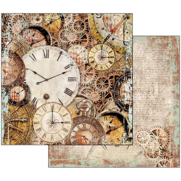 "Stamperia Double-Sided Cardstock 12""X12"", Clockwise Clocks With Mechanism"