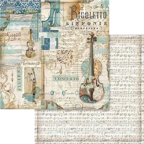"Stamperia Double-Sided Cardstock 12""X12"", Music Rigoletto Violin"