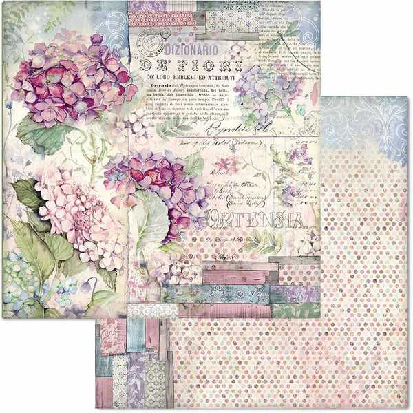 "Stamperia Double-Sided Cardstock 12""X12"", Hortensia"