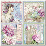 "Stamperia Double-Sided Cardstock 12""X12"", 4 Cards, Hortensia"