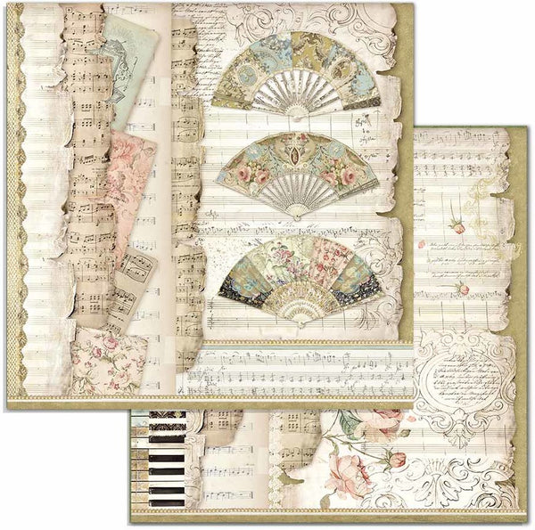 "Stamperia Double-Sided Cardstock 12""X12"", Princess - Fans & Music"