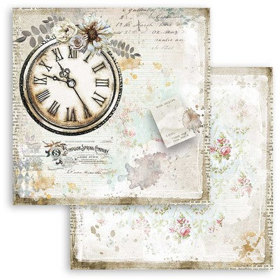 "Stamperia Double-Sided Cardstock 12""X12"", Journal Clock, Romantic"