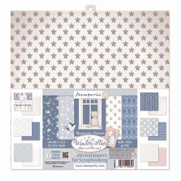 "Stamperia Double-Sided Paper Pack 12""X12"" 6/Pkg, Winter Star, 6 Designs/1 Each"