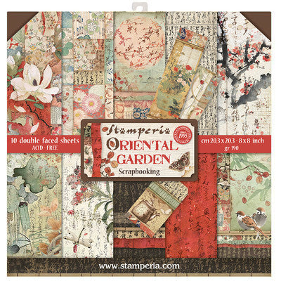 "Stamperia, Double-Sided Paper Pad 8""x8"" 10/Pkg, Oriental Garden"