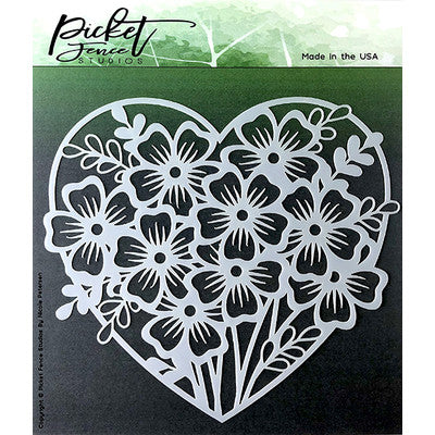 Picket Fence Studio, Stencil, Heart of Flowers