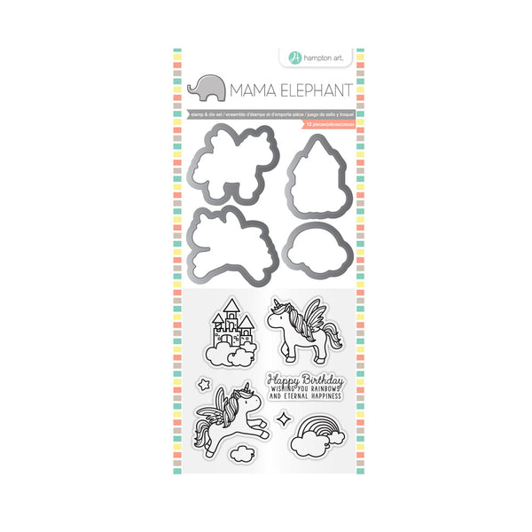 "Mama Elephant Stamp & Die Set 4""X8"", Over the Rainbow"