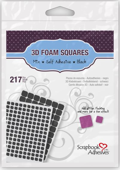 3L Scrapbook Adhesive, 3D Foam Squares, Assorted Black (217 pcs.) - Scrapbooking Fairies