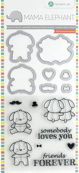 "Mama Elephant Stamp & Die Set 4""X8"", Lovey Puppy"