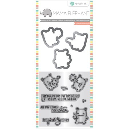 "Mama Elephant Stamp & Die Set 4""X8"", Rock Monster"