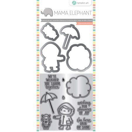 "Mama Elephant Stamp & Die Set 4""X8"", Showers Of Joy"