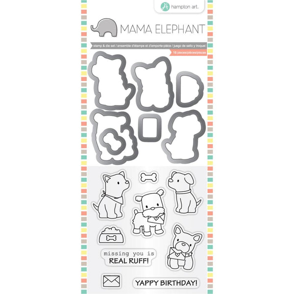 "Mama Elephant Stamp & Die Set 4""X8"", Puppy Play"