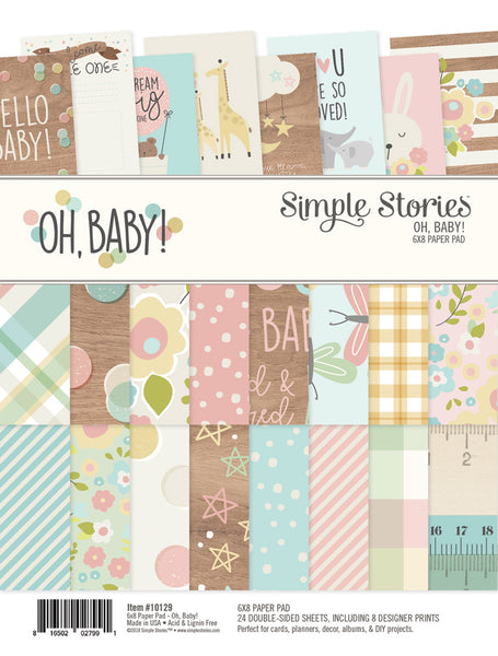 "Simple Stories, Double-Sided Paper Pad 6""X8"" 24/Pkg, Oh Baby!"