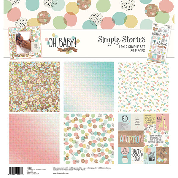 "Simple Stories Simple Sets Collection Kit 12""X12"", Oh Baby! Adoption"