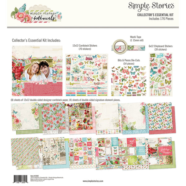 "Simple Stories Collector's Essential Kit 12""X12"", Simple Vintage Botanicals"