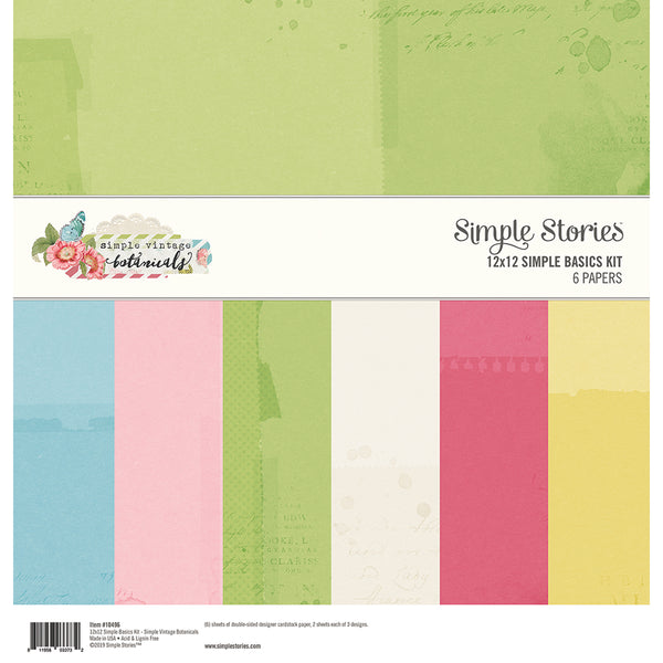 "Simple Stories Basics Double-Sided Paper Pack 12""X12"" 6/Pkg, Simple Vintage Botanicals, 3 Designs"