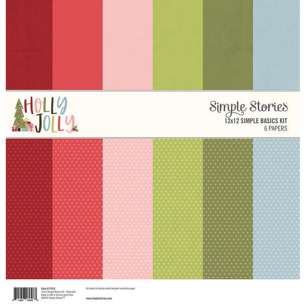 "Simple Stories Basics Double-Sided Paper Pack 12""X12"" 6/Pkg, Holly Jolly, 3 Designs/2 Each"