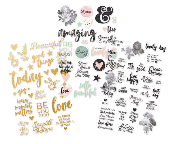 "Simple Stories, Beautiful Clear Stickers 4""X6"" 3/Pkg"