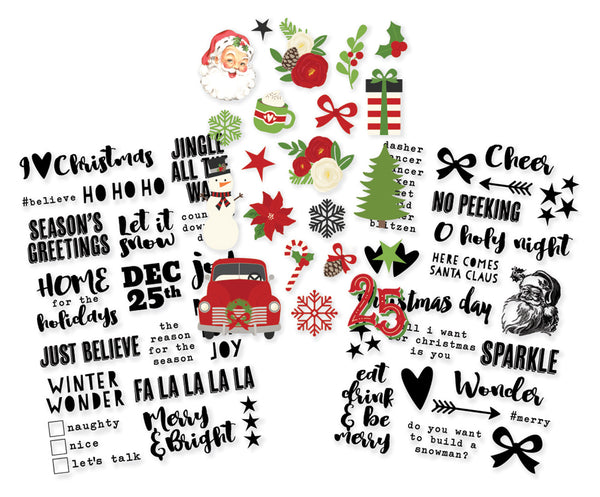 "Simple Stories, Very Merry Clear Stickers 4""X6"" 3/Pkg (1) Color & (2) Black"