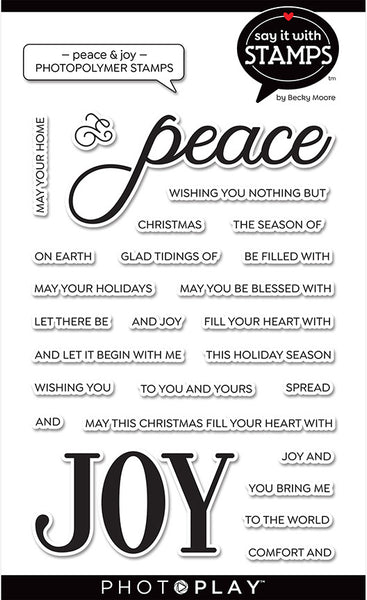 PhotoPlay Say It With Stamps Photopolymer Stamps, Peace & Joy