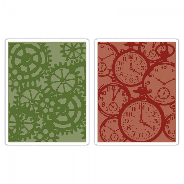 Sizzix Texture Fades Embossing Folder, Clock Steampunk Set