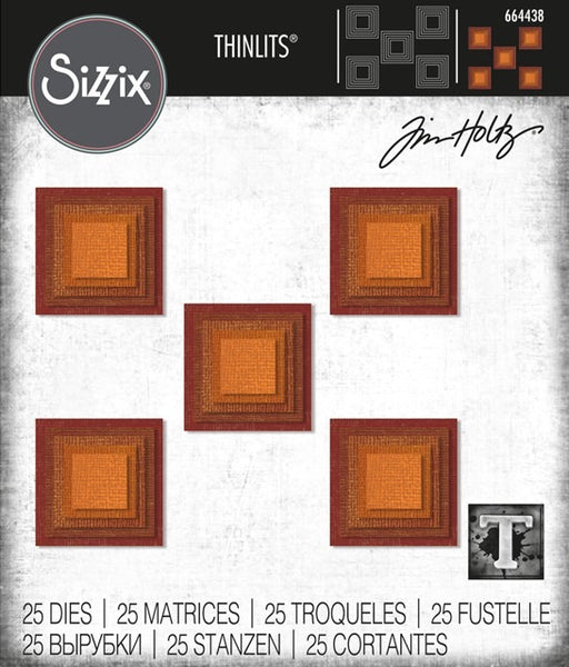 Sizzix Thinlits Dies By Tim Holtz, Stacked Squares (25pk)