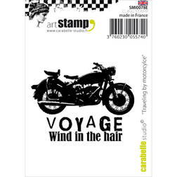 "Carabelle Studio Cling Stamp 2.75""X3.75"" Traveling By Motorcycle"