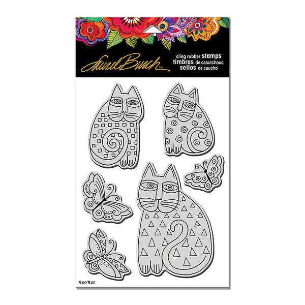 Laurel Burch, Indigo Cats, Cling Stamp Set - Scrapbooking Fairies