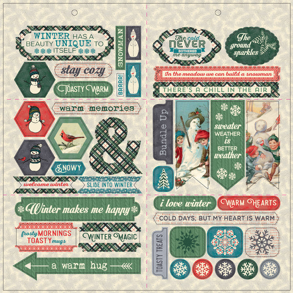 "Authentique, Snowfall, Double-Sided Cardstock Die-Cut Sheet 12""X12"", Elements"
