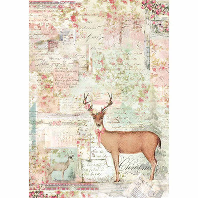 Stamperia Rice Paper Sheet A4,  Pink Christmas Reindeer