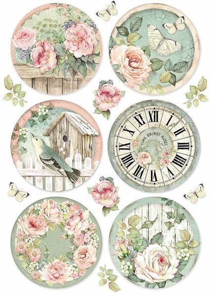 Stamperia, Rice Paper Sheet A4, Round Clocks