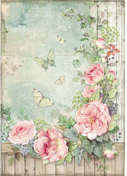 Stamperia, Rice Paper Sheet A4, Roses Garden With Fence