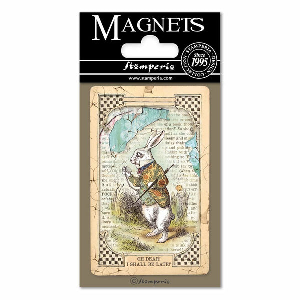 "Stamperia Magnet 2.25""X3.25"", Alice White Rabbit"