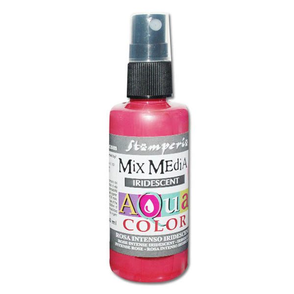 Stamperia, Mix Media Iridescent Aquacolor Spray 60ml. - Iridescent Intense Pink