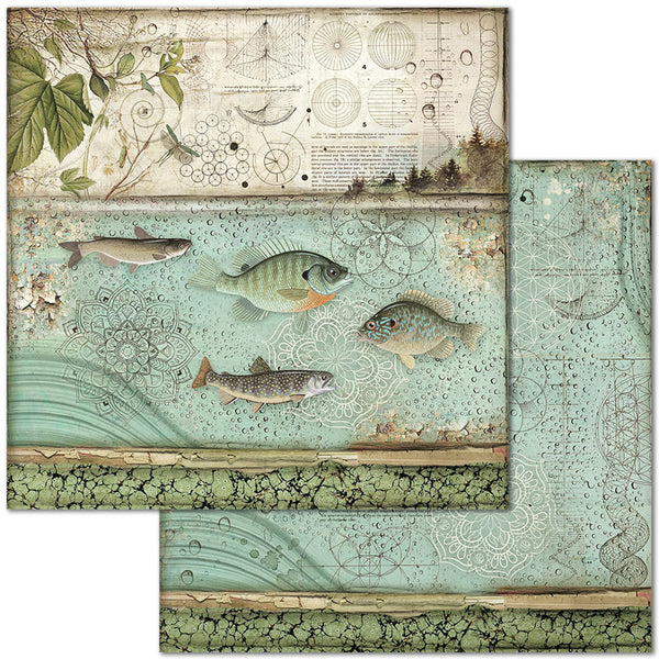 "Stamperia Double-Sided Cardstock 12""X12"", Fish"