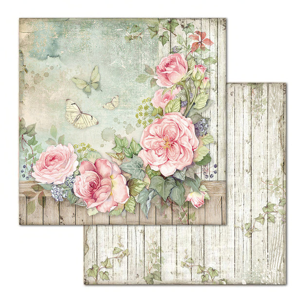 "Stamperia Double-Sided Cardstock 12""X12"", Fence with Roses"
