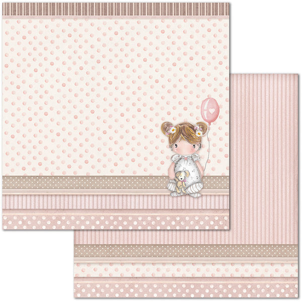 "Stamperia, Double-Sided Cardstock 12""X12"", Little Girl Balloon"