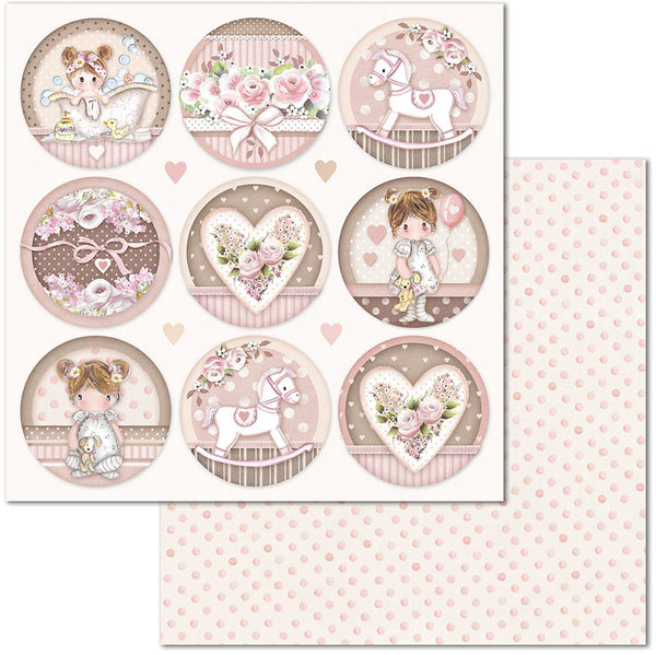 "Stamperia, Double-Sided Cardstock 12""X12"", Little Girl Round"