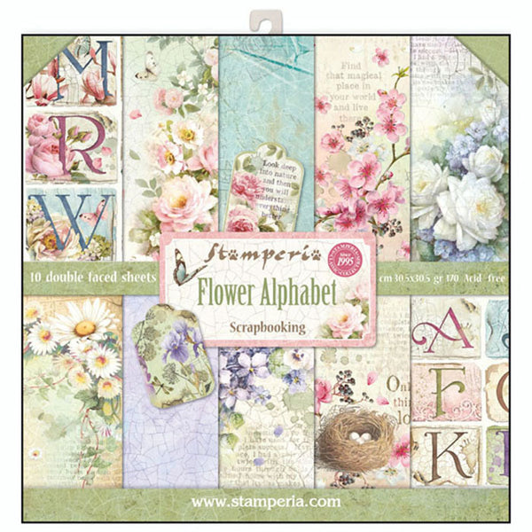 "Stamperia Double-Sided Paper Pad 12""X12"" 10/Pkg, Flower Alphabet, 10 Designs/1 Each"