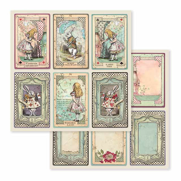 "Stamperia, Double-Sided Cardstock 12""X12"", Alice Cards"