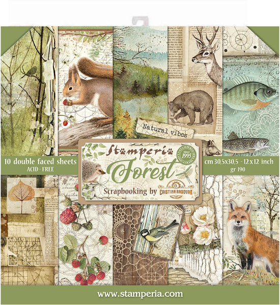 "Stamperia, Double-Sided Paper Pad 12""X12"" 10/Pkg, Forest, 10 Designs/1 Each"