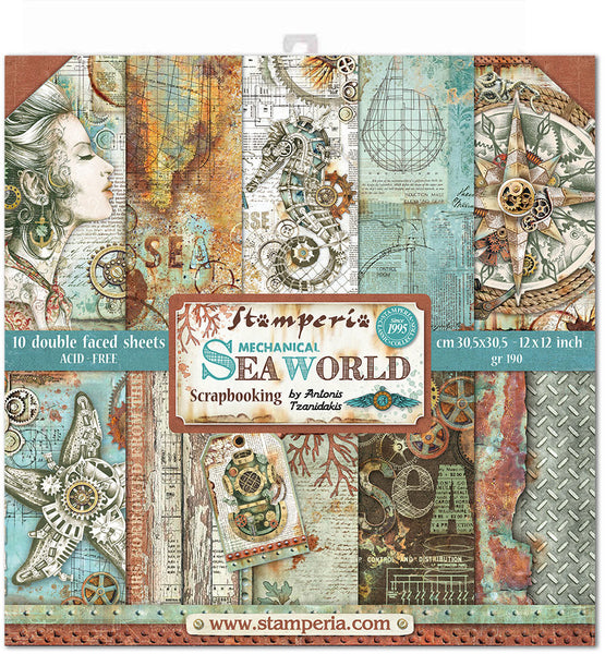 "Stamperia, Double-Sided Paper Pad 12""X12"" 10/Pkg, Sea World, 10 Designs/1 Each"