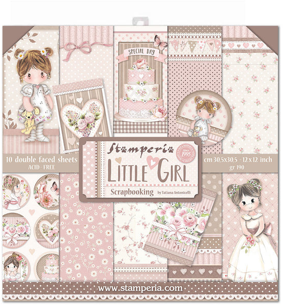 "Stamperia, Double-Sided Paper Pad 12""X12"" 10/Pkg, Little Girl, 10 Designs/1 Each"