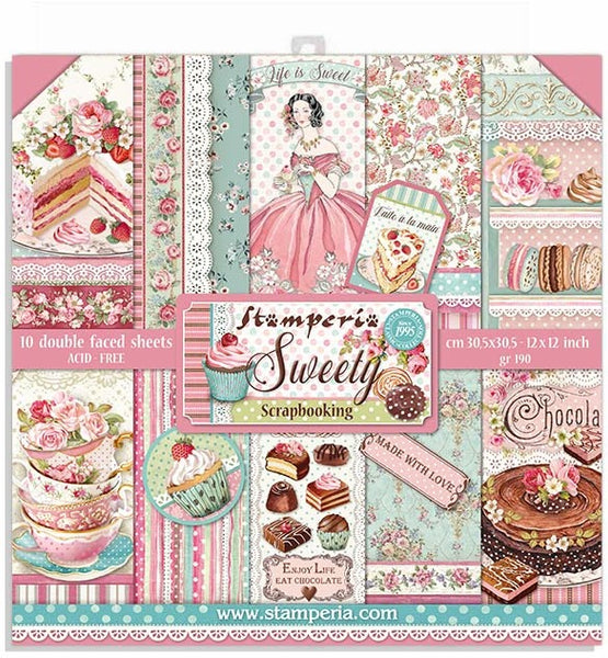 "Stamperia Double-Sided Paper Pad 12""X12"" 10/Pkg, Sweety, 10 Designs/1 Each"