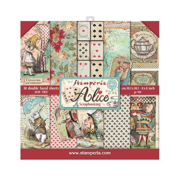 "Stamperia Double-Sided Paper Pad 8""X8"" 10/Pkg, Alice, 10 Designs/1 Each"