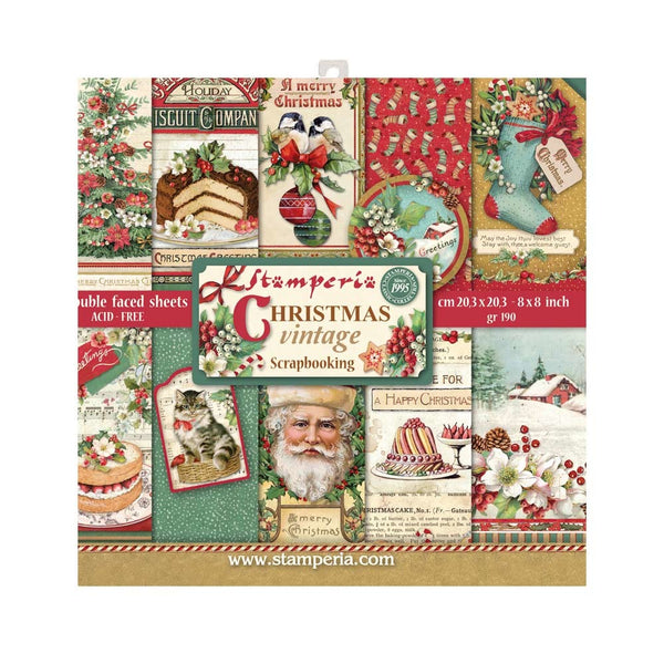 "Stamperia Double-Sided Paper Pad 8""X8"" 10/Pkg, Christmas Vintage, 10 Designs/1 Each"
