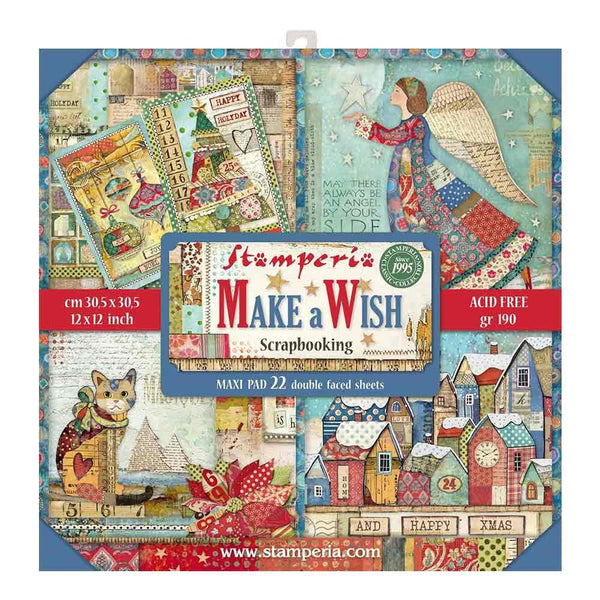 "Stamperia Double-Sided Maxi Paper Pad 12""X12"" 22/Pkg, Make A Wish, 22 Designs/1 Each"