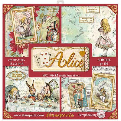"Stamperia, Single-Sided Maxi Paper Pad 12""X12"" 22/Pkg, Alice with Gold Accents"