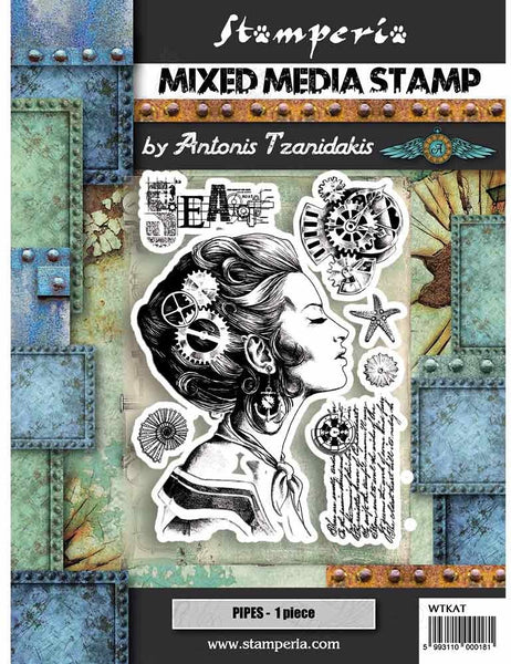 "Stamperia, HD Natural Rubber Stamp, 5.90""X7.87"", Lady"