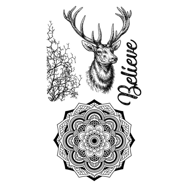 "Stamperia Cling Stamp 3.94""X6.5"", Cosmos Deer"