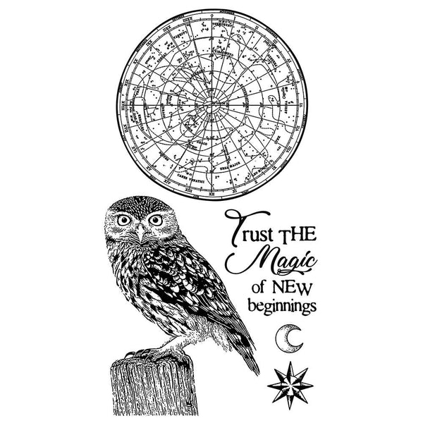 "Stamperia Cling Stamp 3.94""X6.5"", Cosmos Owl"